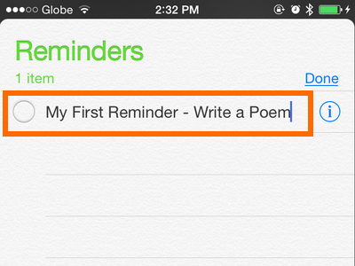 iPhone - Reminders - Input Reminder