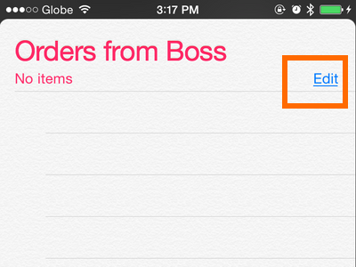 iPhone - Reminders - List - edit