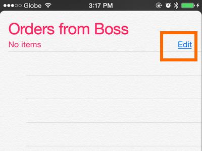 iPhone - Reminders - List - edit