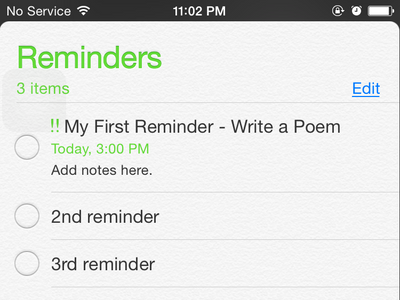 iPhone - Reminders - List of reminders
