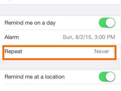 iPhone - Reminders - More Info - Repeat Frequency
