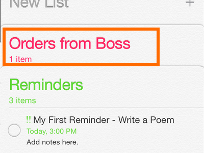 iPhone - Reminders - New List Added