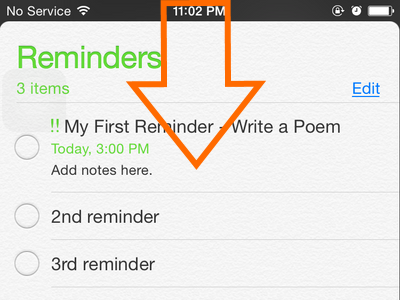 iPhone - Reminders - Pulldown Reminder Home