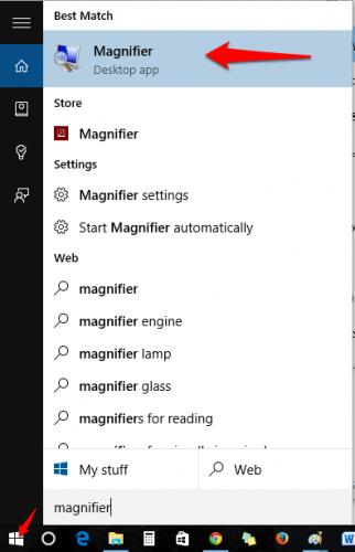 Windows 10  Magnifier