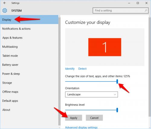 Windows 10 Display Size