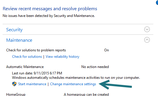 Windows 10 Maintenance Settings