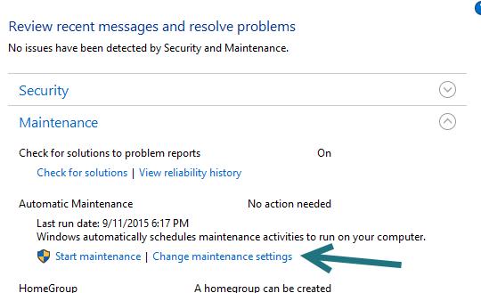 Windows 10 Maintenance Settings