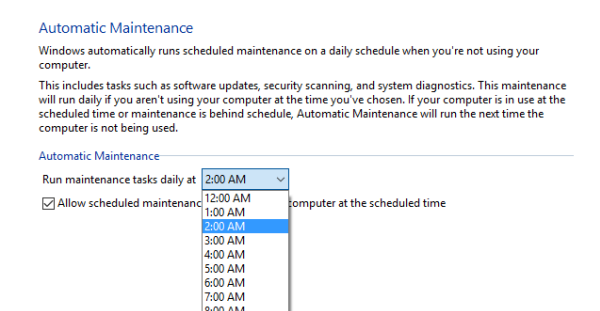 Change System Maintenance Time in Windows 10