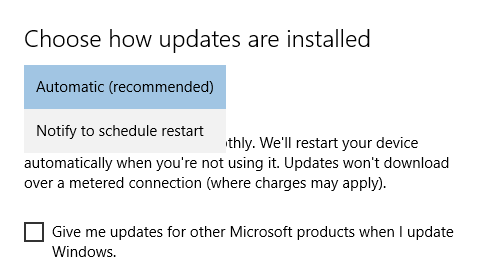 Windows 10 auto updates settings