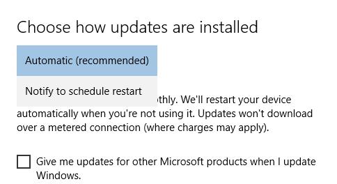 Windows 10 auto updates settings