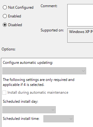 Windows 10 Group Policy Editor Configure Automatic Updates