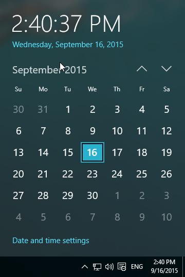 Windows 10 new clock
