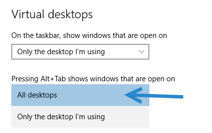 Windows 10 virtual desktop settings