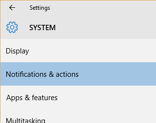Windows 10 Notifications & actions