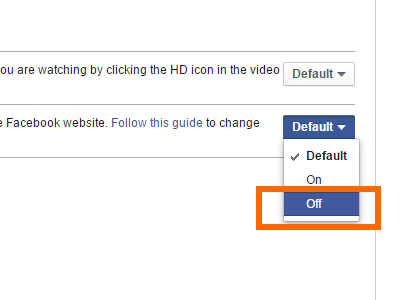 FB Settings - Videos - Autoplay - Drop Down - Off