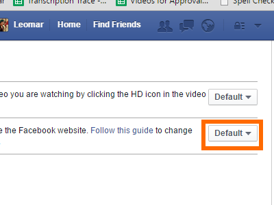 FB Settings - Videos - Autoplay - Drop Down