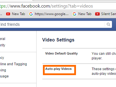 FB Settings - Videos - Autoplay