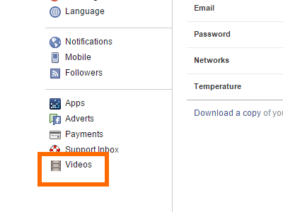 FB Settings - Videos