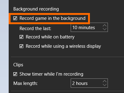 Game DVR - Settings icon- record game in background- Paint
