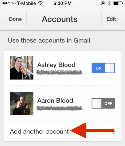 iPhone Multiple Gmail accounts