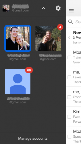 iPhone Gmail multiple accounts