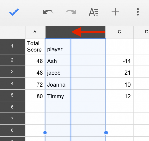 How to Resize Columns and Rows in Google Sheets Mobile