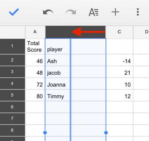 Google Sheets Resize Columns