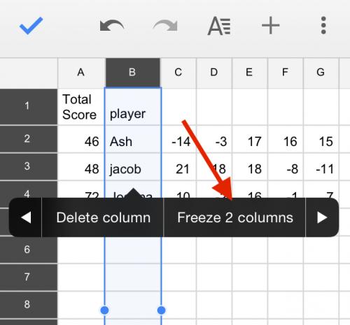 Google Sheets Freeze Columns