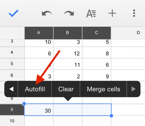 Google Sheets autofill