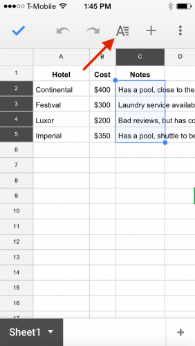 Google Sheets Wrap Text