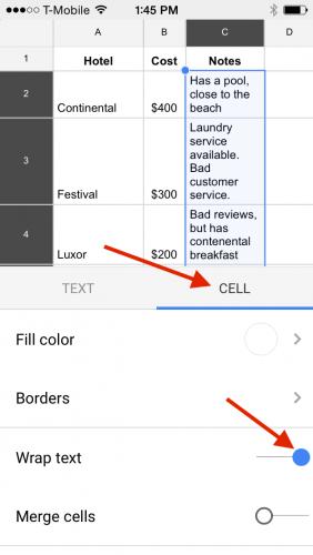 Google Sheets Wrap Text