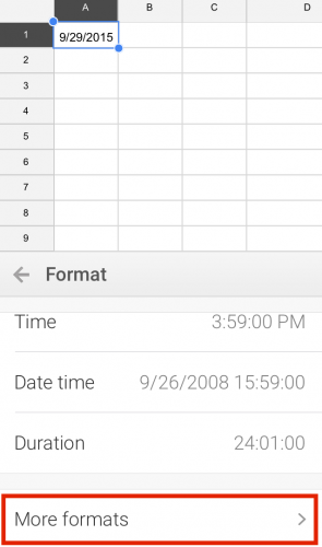 Google Sheets Mobile Format Date