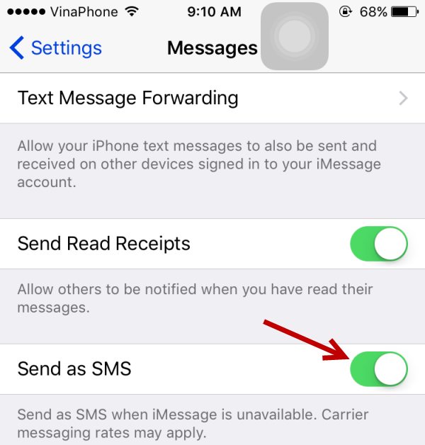 iMessage send as SMS