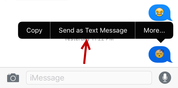 iMessages send as text message