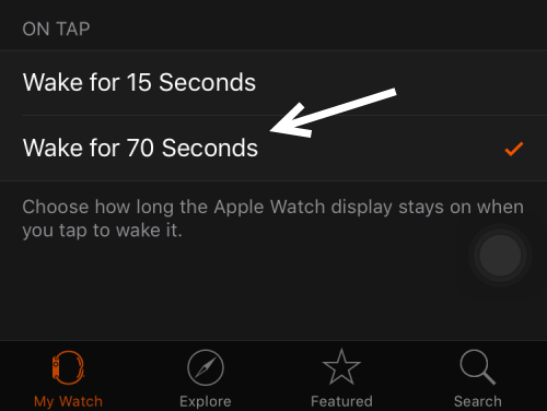 Apple Watch Screen Time-Out Setting