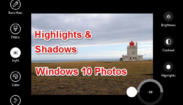 How to Adjust Highlights and Shadows in Windows 10 Photos