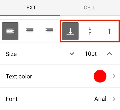 How to format text in google sheets mobile for Text align top