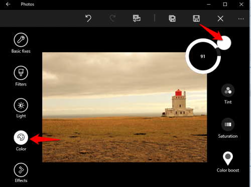 Windows 10 Photos Adjust Color