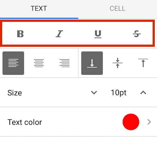 Google Sheets Mobile bold italic underline strikethrough