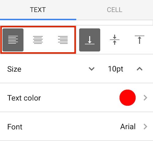 Google Sheets Mobile Horizontal Align