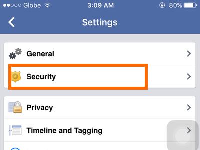 iphone - Facebook - Menu - Account Settings - Security