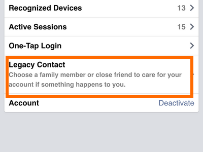 iphone - Facebook - Menu - Account Settings - Security - Legacy Contact