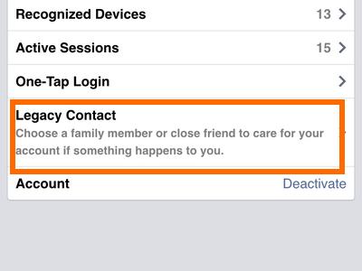 iphone - Facebook - Menu - Account Settings - Security - Legacy Contact