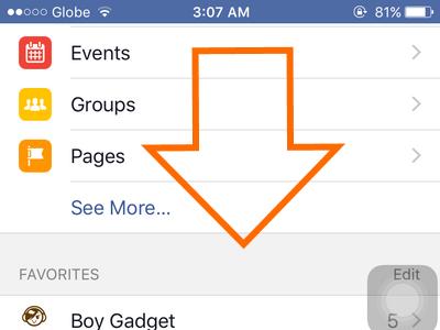 iphone - Facebook - Menu - Scroll down