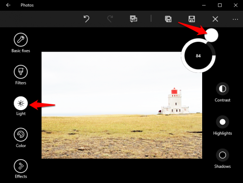 Windows 10 photos edit brightness