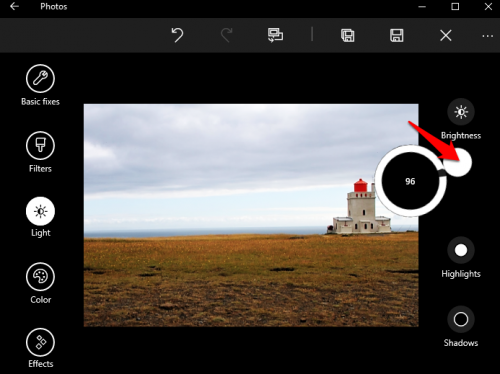 Windows 10 Photos Adjust Contrast