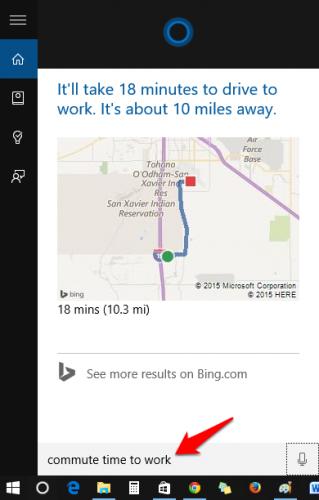 Cortana Commute Time Maps