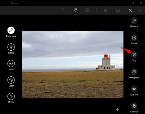 Windows 10 Photos Crop