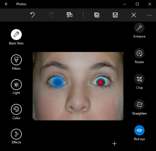 Windows 10 Photos Red Eye