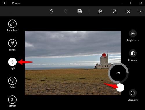 Windows 10 Photos Adjust Highlights